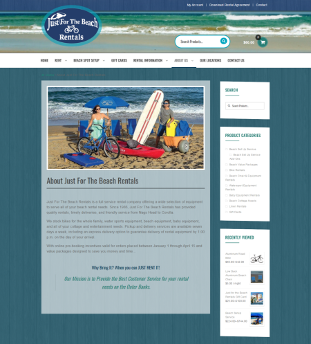 """About Us"" page for Just For The Beach Rentals"