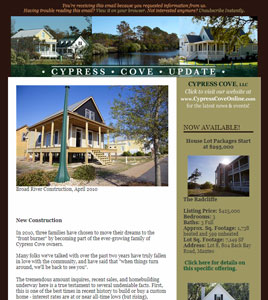 Cypress Cove Email Newsletter