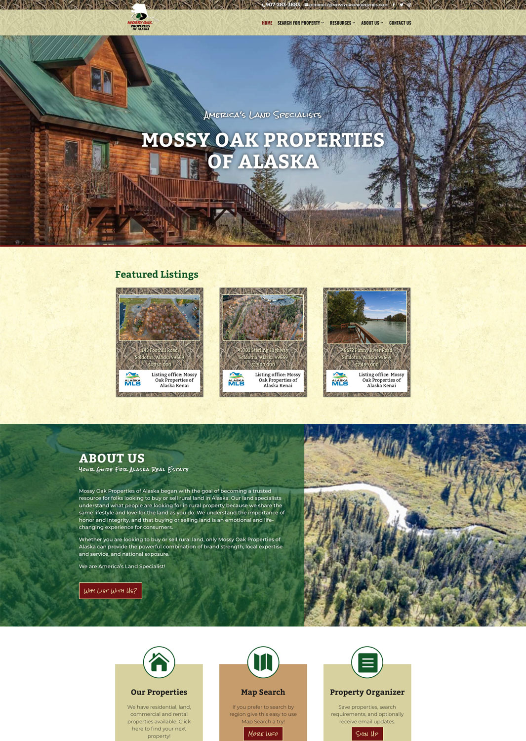 Mossy Oak Properties of Alaska Website