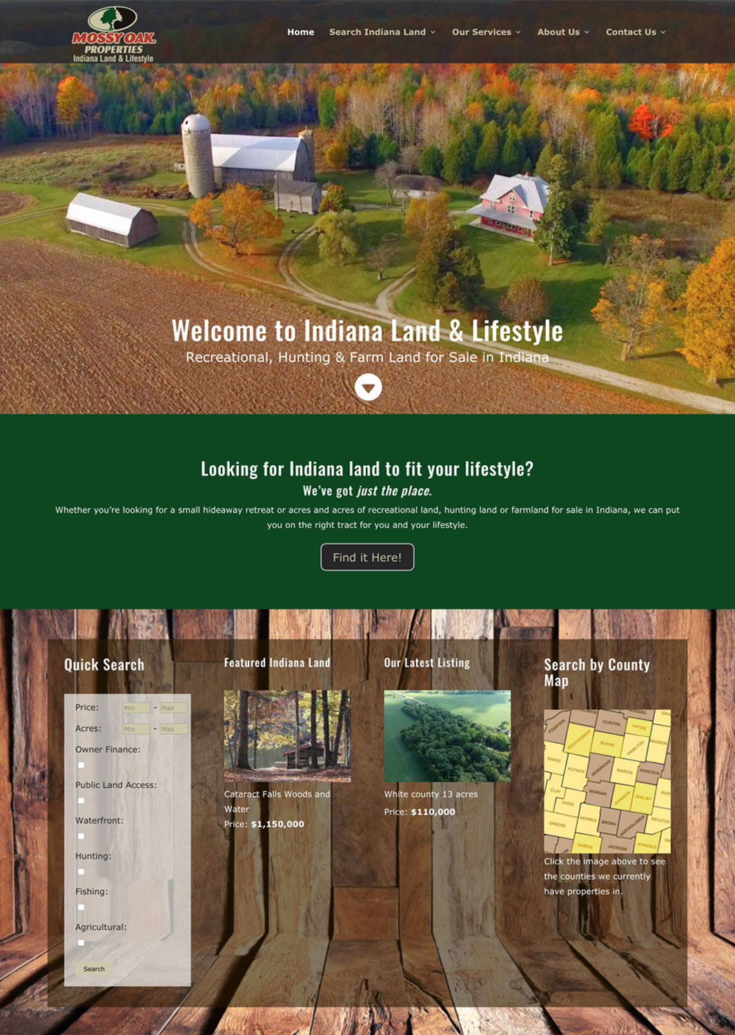 Mossy Oak Properties Indiana Land and Lifestyle Real Estate Website