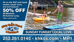 Kitty Hawk Kayak and Surf School Sunday Funday Local Love Ad