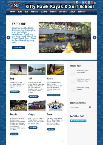 Kitty Hawk Kayak and Surf School Website