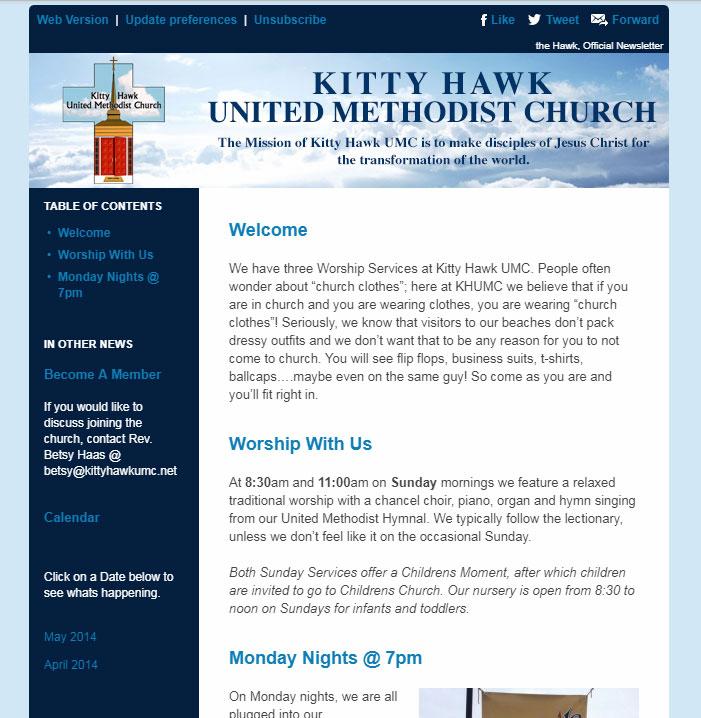 Kitty Hawk United Methodist Church Email Newsletter