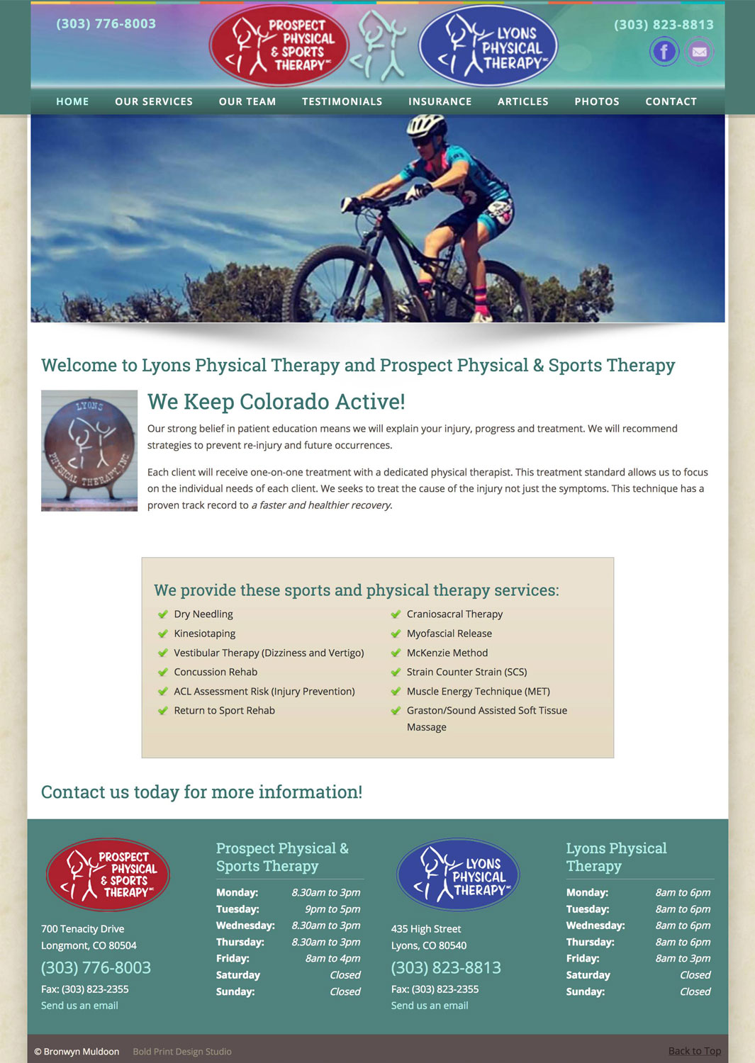 Lyons Physical Therapy Website