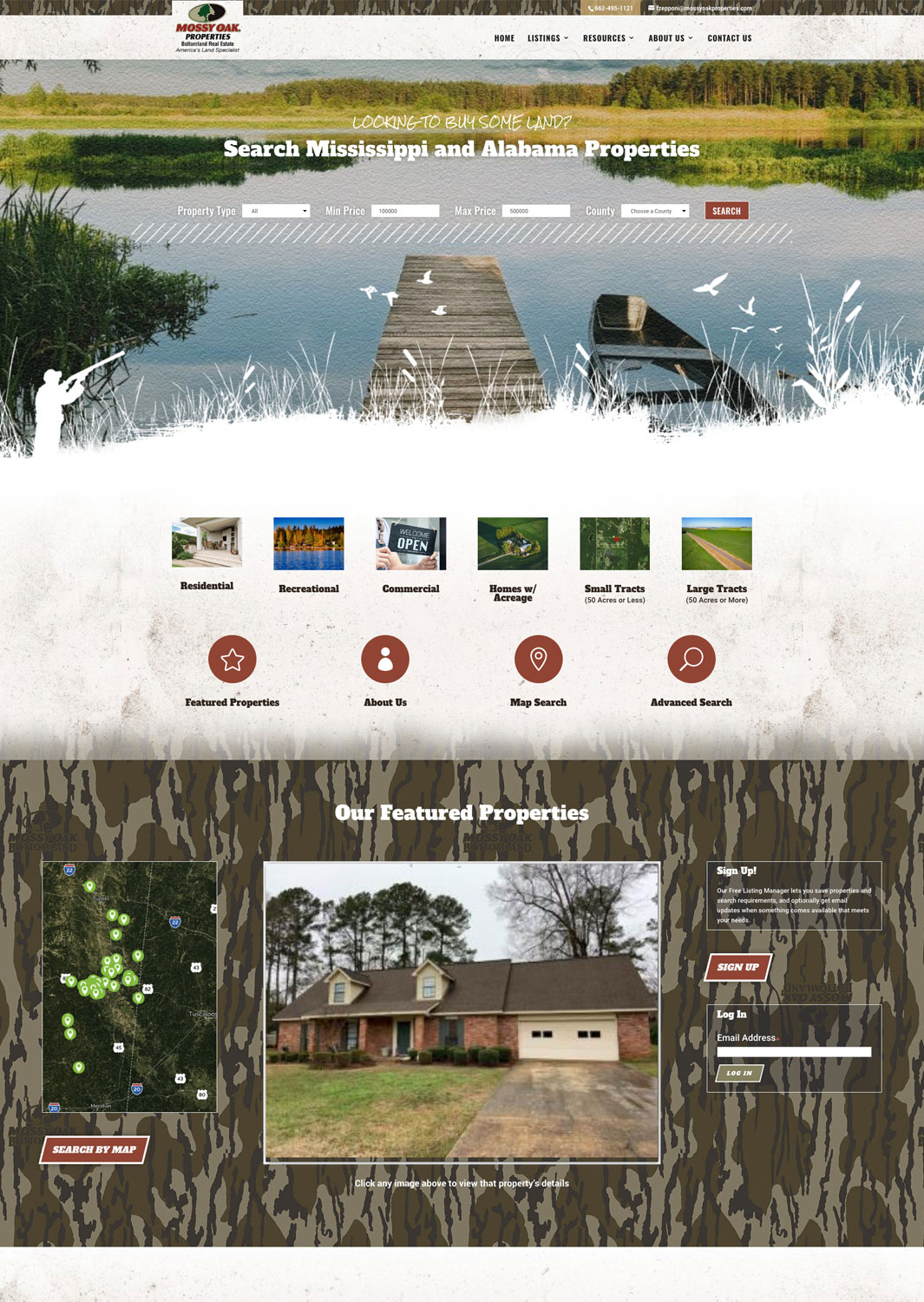 Mossy Oak Properties Bottomland Real Estate Website