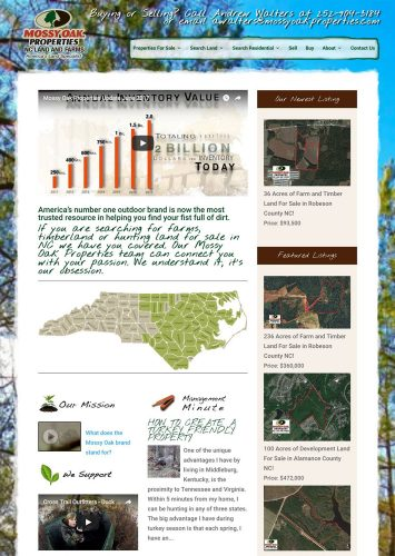 Mossy Oak Properties NC Land & Farms Andrew Walters Real Estate Website