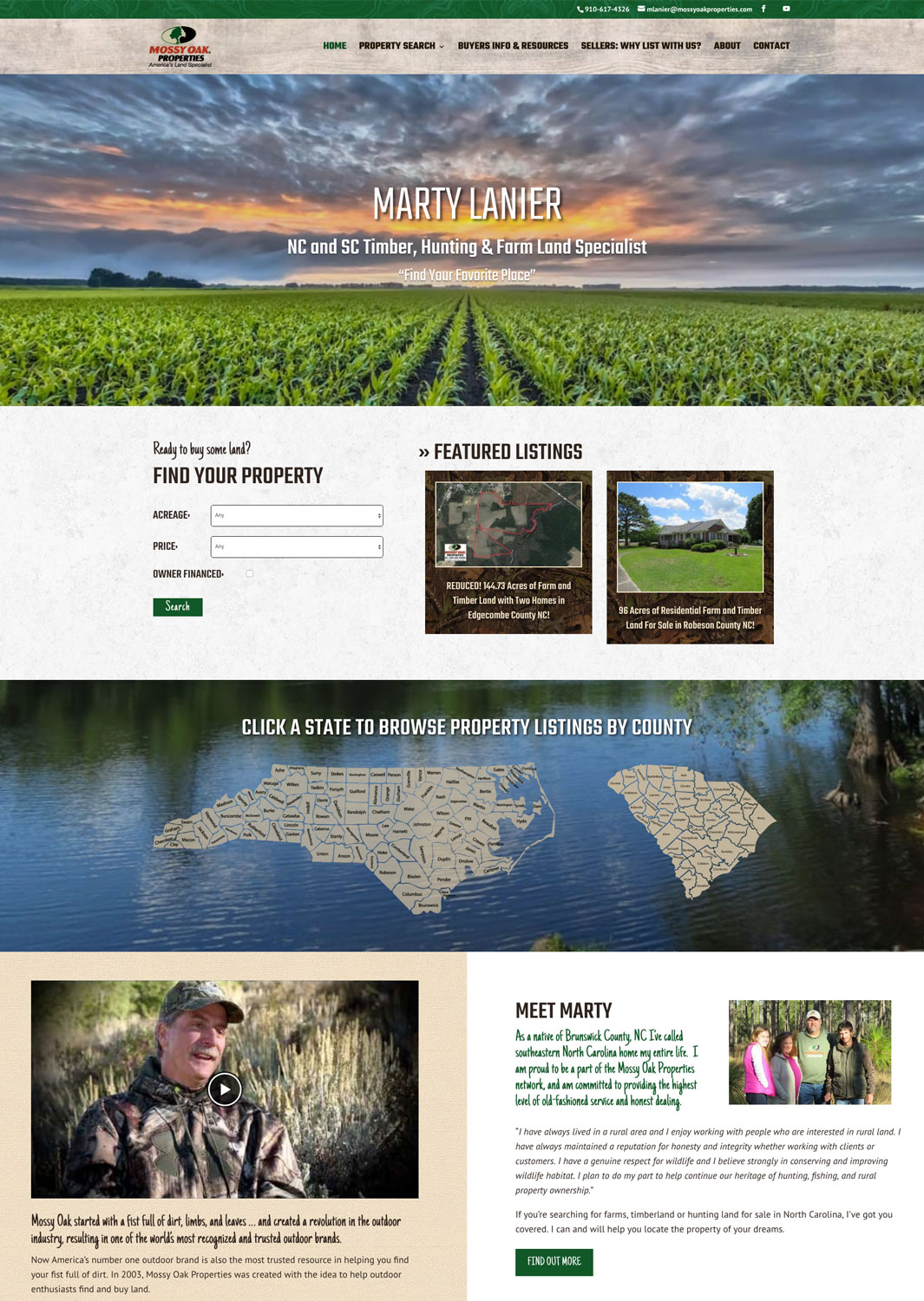 Mossy Oak Properties NC Land Agent Website for Marty Lanier