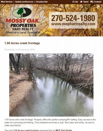 Mossy Oak Properties Hart Realty Email Newsletter