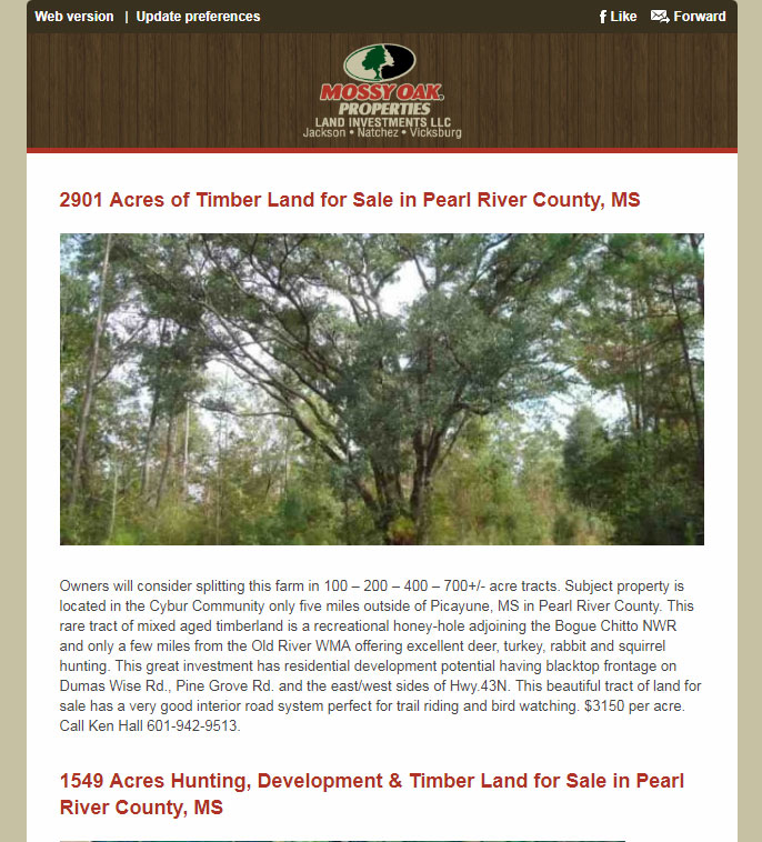 Mossy Oak Properties Land Investments Email Newsletter