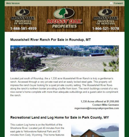 Mossy Oak Properties Wyoming Land Sales Email Newsletter