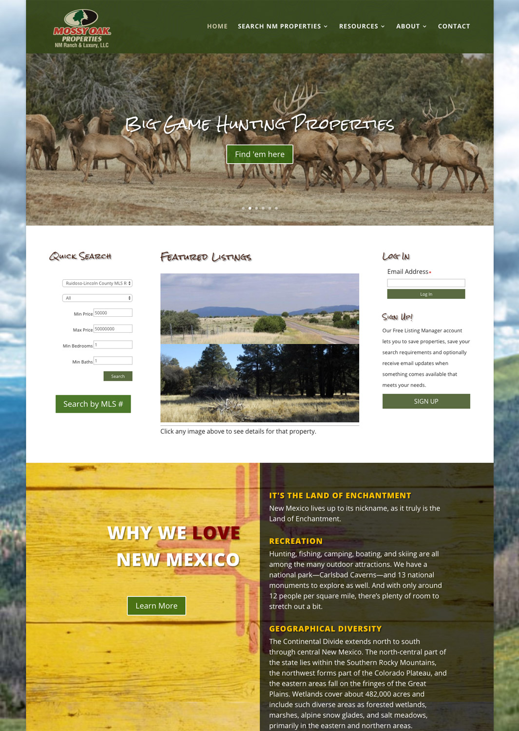 Mossy Oak Properties New Mexico Ranch & Luxury MLS Real Estate Website