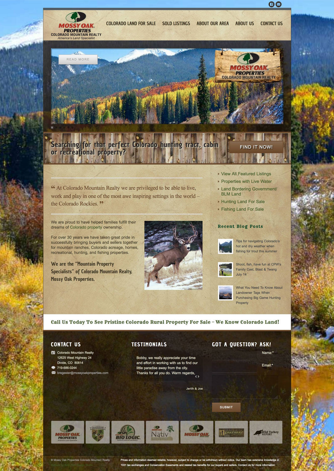 Mossy Oak Properties Colorado Mountain Realty Real Estate Website