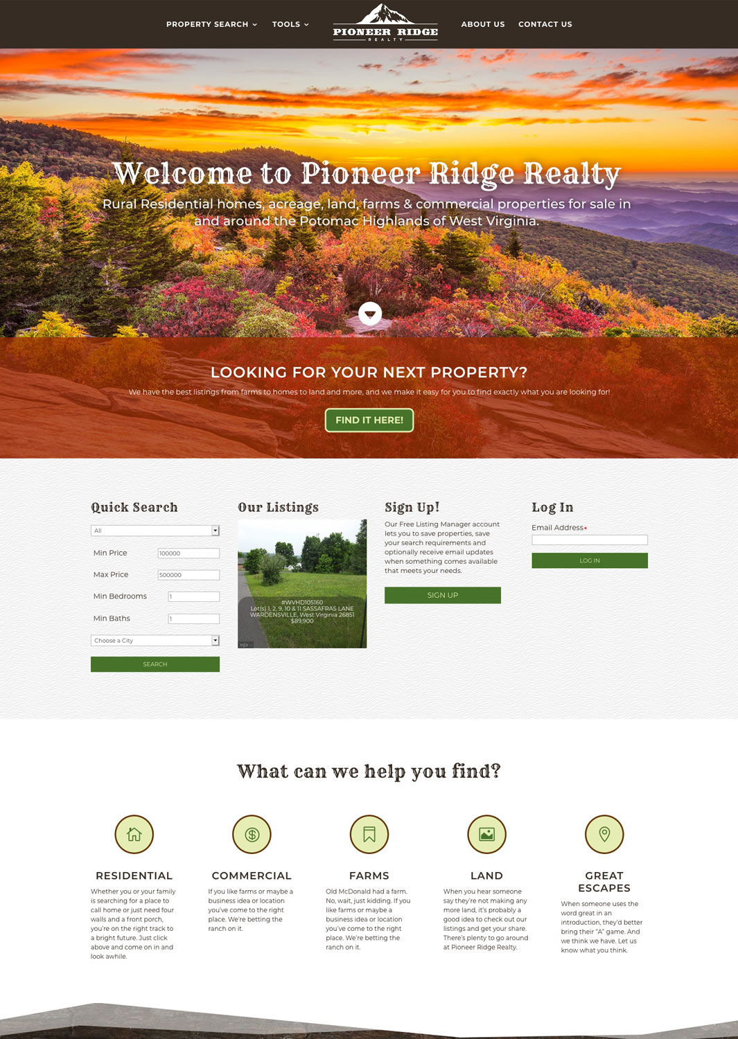 Pioneer Ridge Realty Website