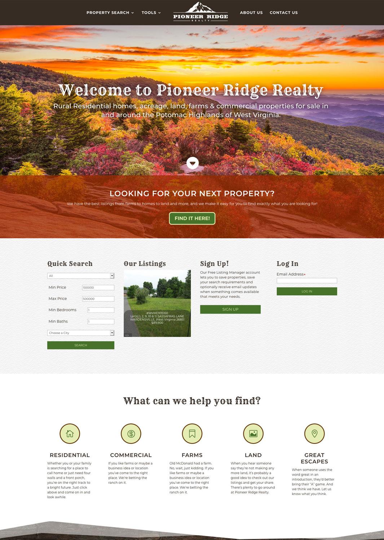 Pioneer Ridge Realty Website