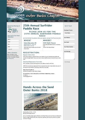 Surfrider Foundation, Outer Banks Chapter Website