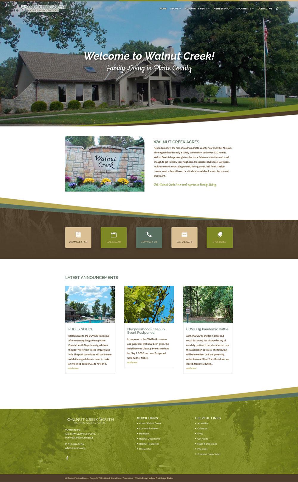 Walnut Creek South Homes Association Website