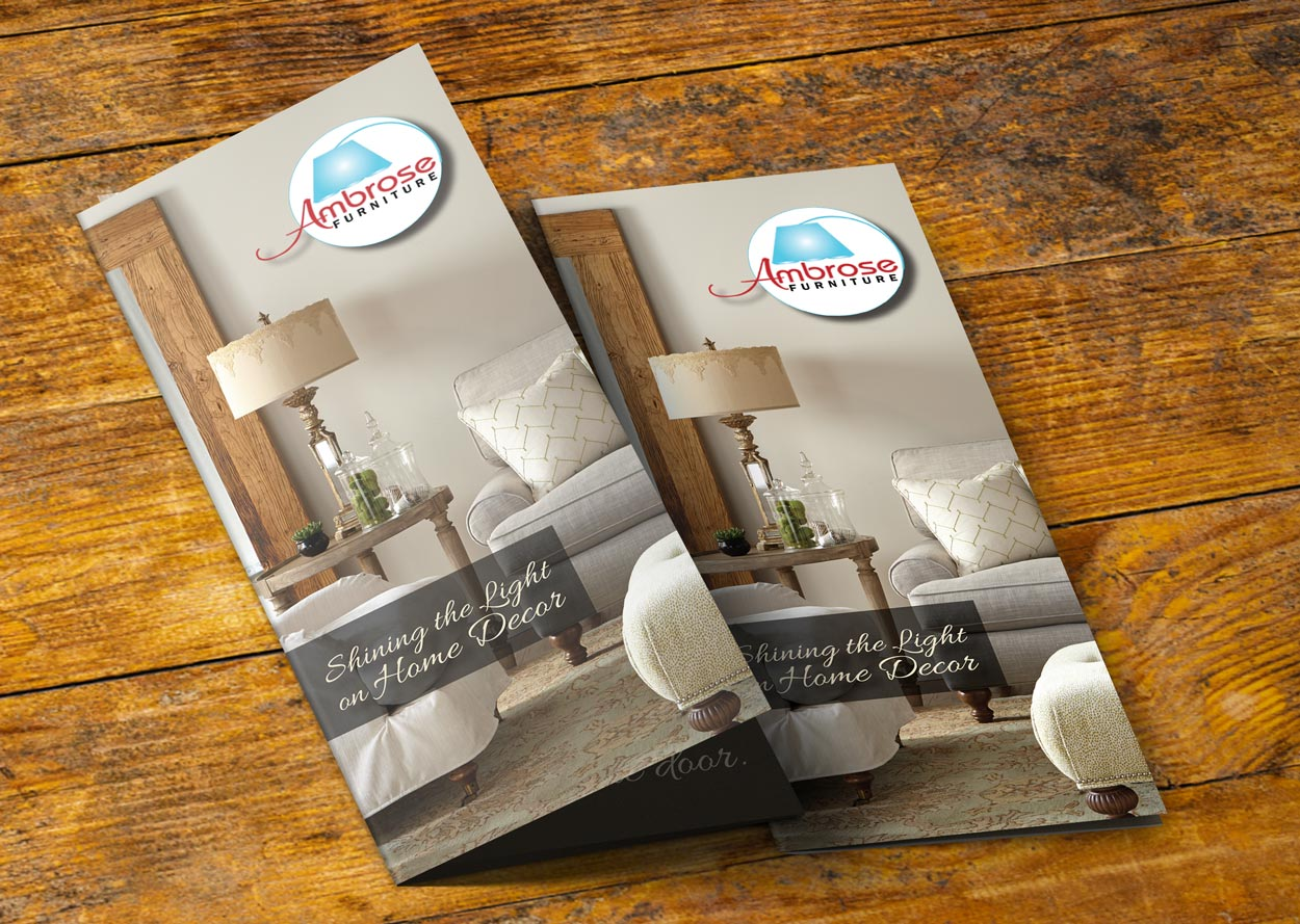 Ambrose Furniture Trifold Brochure Bold Print Design Studio