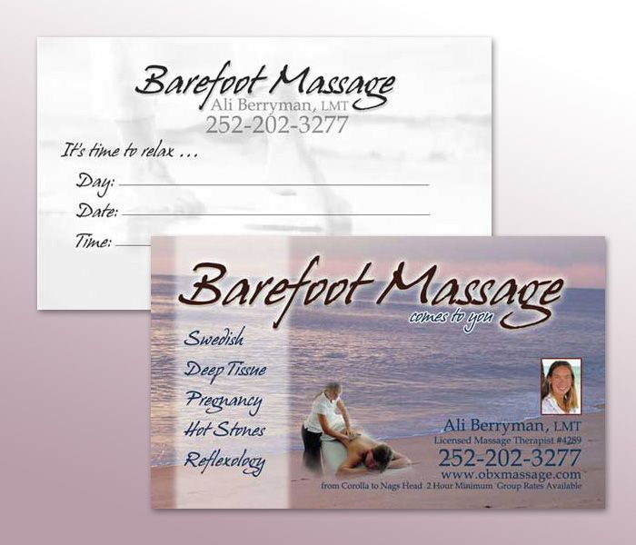 Barefoot Massage Business Cards