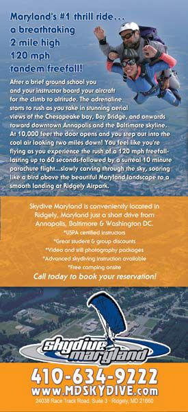 Skydive Maryland Rack Card 2 back