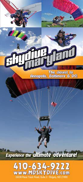 Skydive Maryland Rack Card 2 front