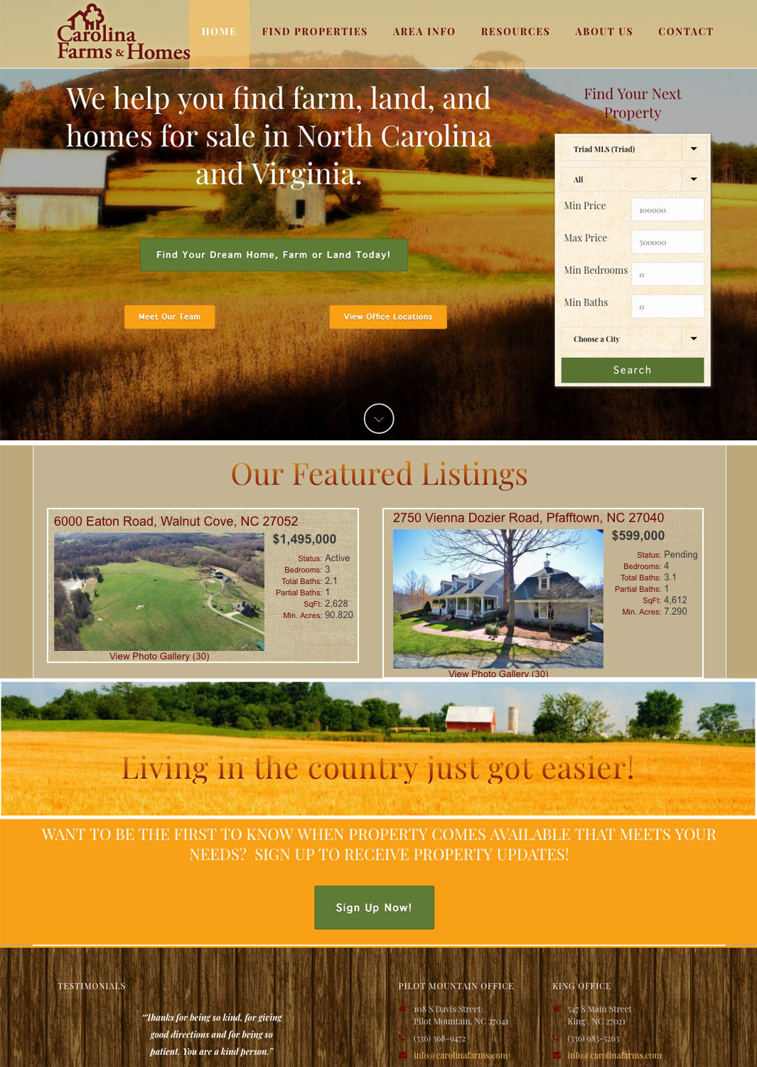 Carolina Farms & Homes MLS Real Estate Website