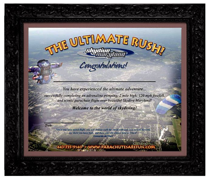Skydive Maryland Certificates