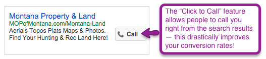 Enable customers to make contact with a click-to-call button