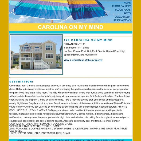 Carolina on My Mind Vacation Rental Website
