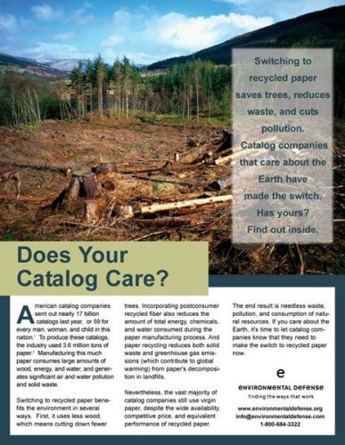 Environmental Defense Recycled Paper Brochure