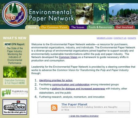 Environmental Paper Network Non-Profit Website