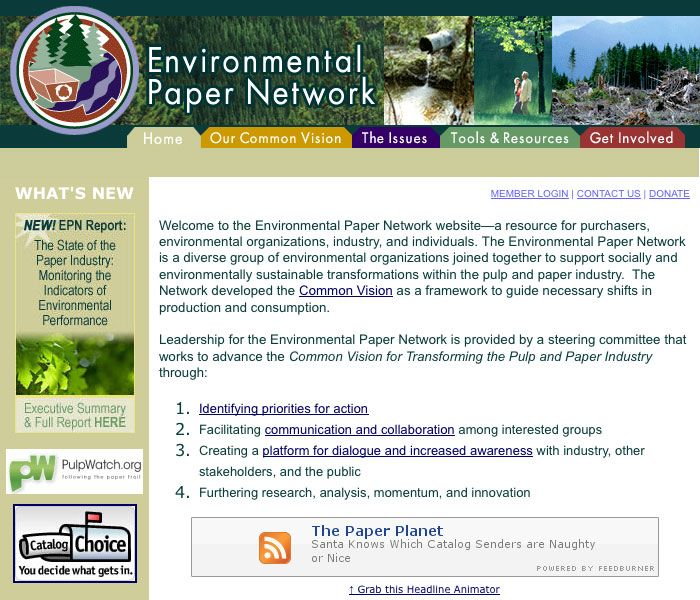 Environmental Paper Network Website