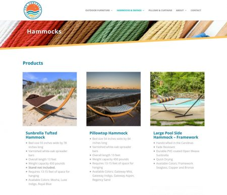 The product catalog pages display a smaller header with a creative, tactile-based background image at the top, leaving lots of room for products below. Ecommerce Websites