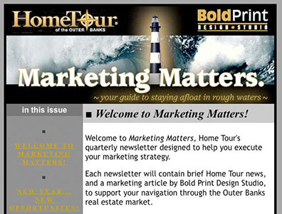 Email campaign design and mailing services for Home Tour magazine.