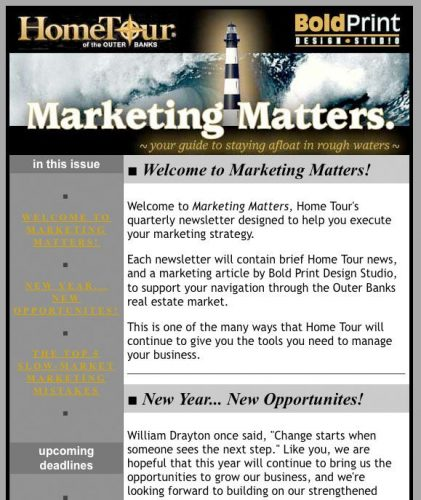 "Home Tour ""Marketing Matters"" Email Newsletter"