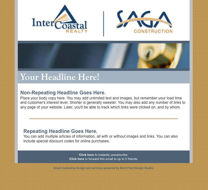 InterCoastal Realty / SAGA Construction Email Newsletters
