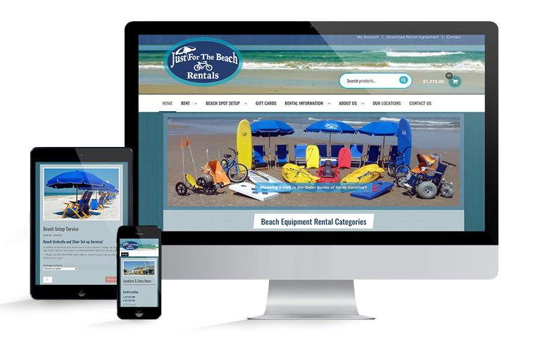 Just For The Beach Rentals Online Equipment Rental Reservations Website