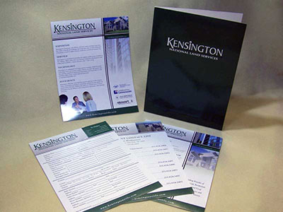 Kensington National Land Services Folder and Sales Sheets