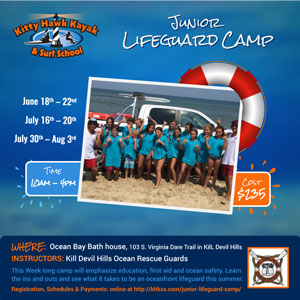 Kitty Hawk Kayak and Surf School Jr Lifeguarding Camp Online Ad