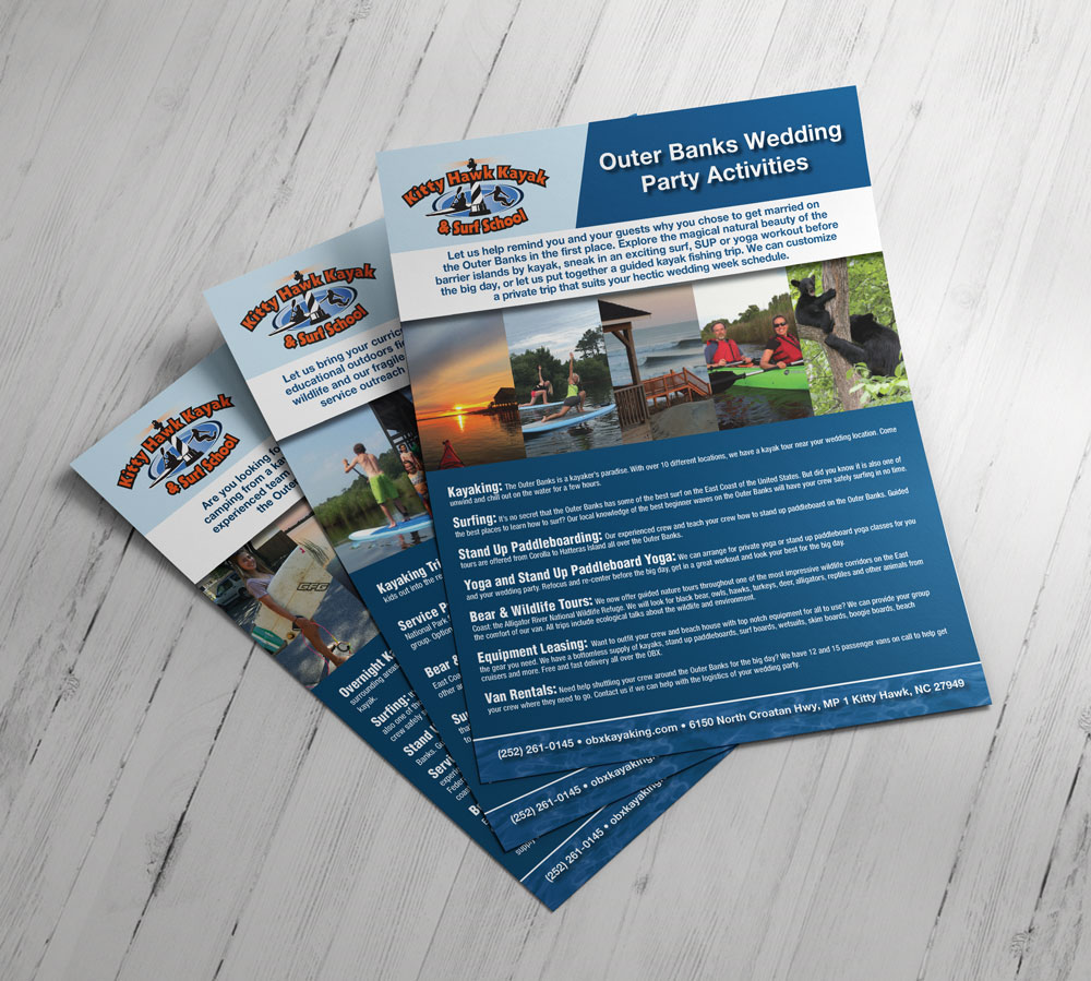 Kitty Hawk Kayak and Surf School Fliers