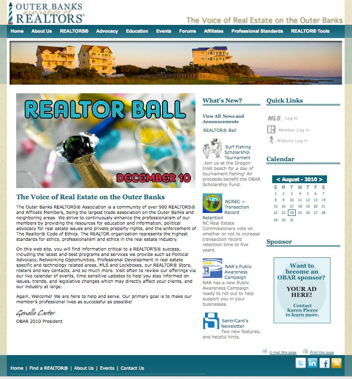 Outer Banks Association of REALTORS® Website