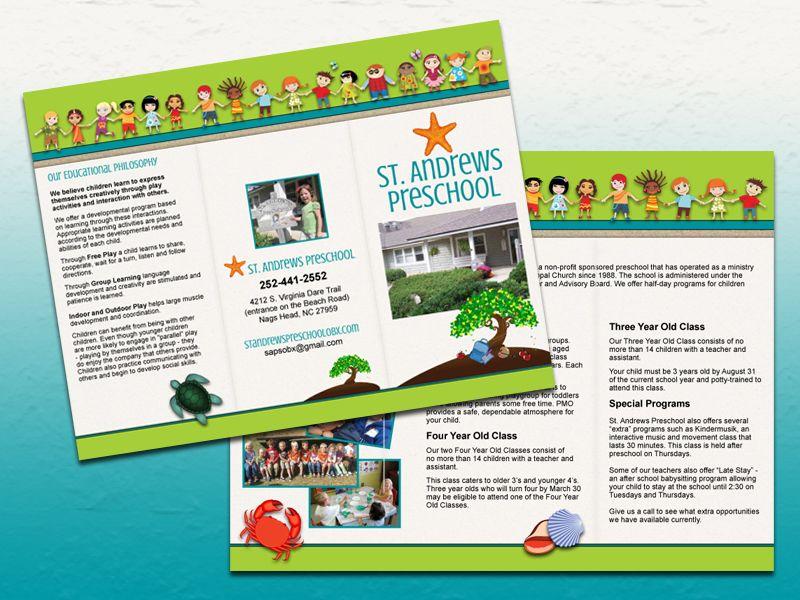 brochure design for training institute - st andrews preschool trifold brochure bold print design