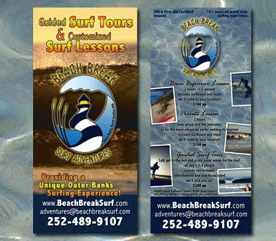 Beach Break Surf Adventure Rack Card
