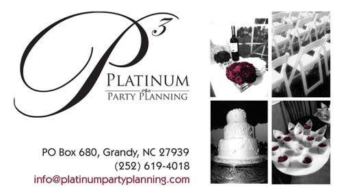 Platinum Party Planning Business Cards Bold Print Design Studio