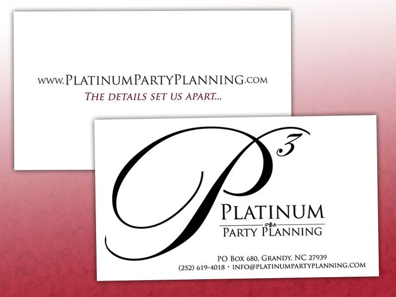 Platinum Party Planning Business Cards