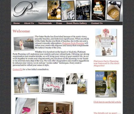 Platinum Party Planning Website