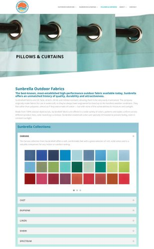 Extra details and miles of color swatches are available in easy to browse containers so as to not overwhelm the site visitor.