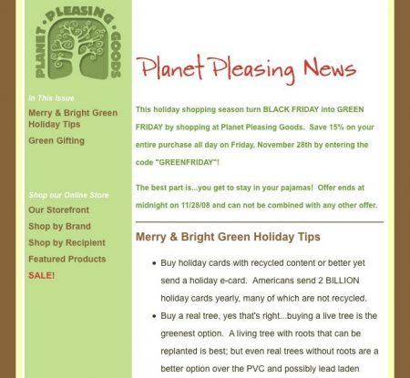 Planet Pleasing Goods Email Newsletter Campaigns