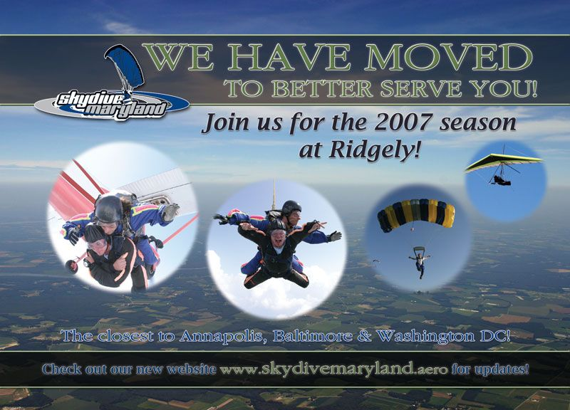 Skydive Maryland Relocation Postcard
