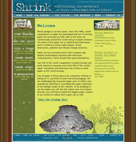Shrink Paper Non-Profit Website