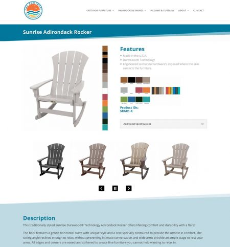 This simple layout displays all of the information you may need to make a decision on purchasing this product. Color swatches and easily available and the swatch photos enlarge to show details. There is a gallery of all available images. In addition to a full text description, there is a link to the full (but boring!) product specs, so you don't see this info unless you choose to.